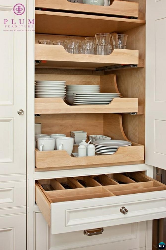 DIY Slide Out Dish Storage-16 Brilliant Kitchen Storage Solutions You Can Make Yourself