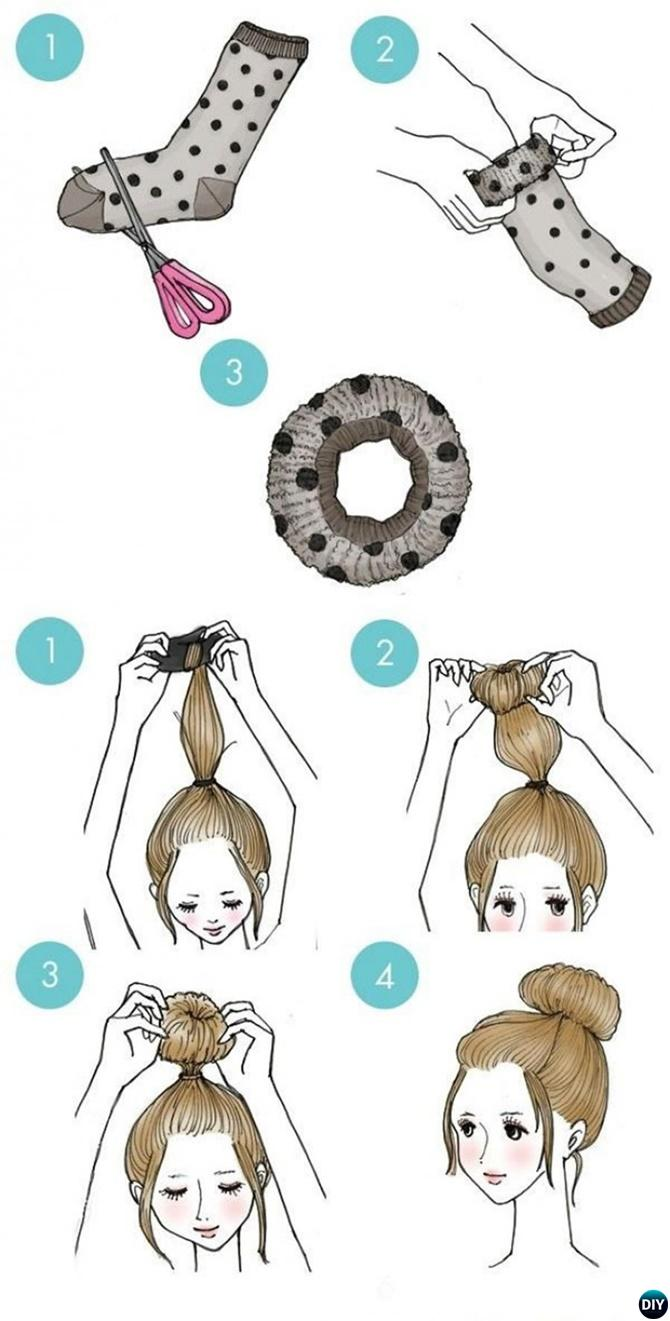 Sock Bun Hairstyle-20 Easy Busy Morning Hairstyles For Short Mid Long-Length Hairs