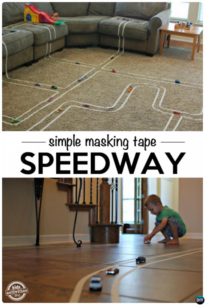Masking Tape Race Track-20 Indoor Kids Activities