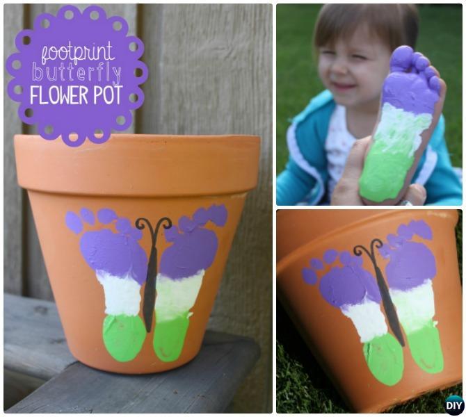Terracotta Clay Pot Footprint Butterfly DIY Clay Pot Garden Craft Projects