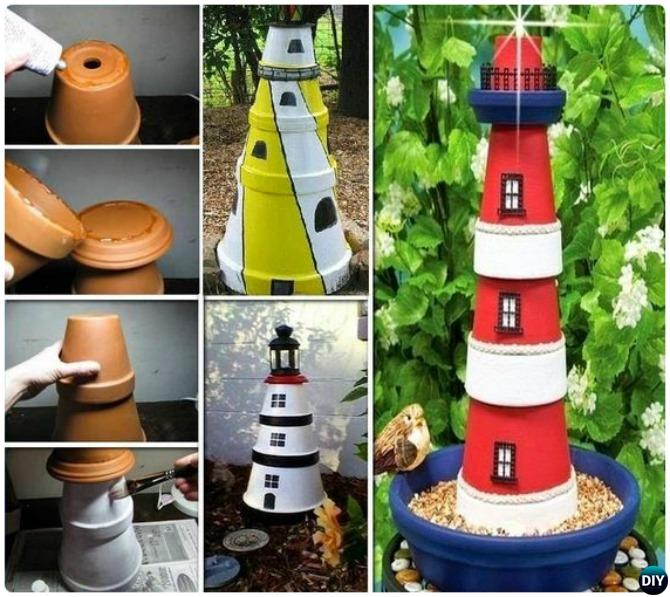 Terracotta Clay Pot Lighthouse DIY Clay Pot Garden Craft Projects