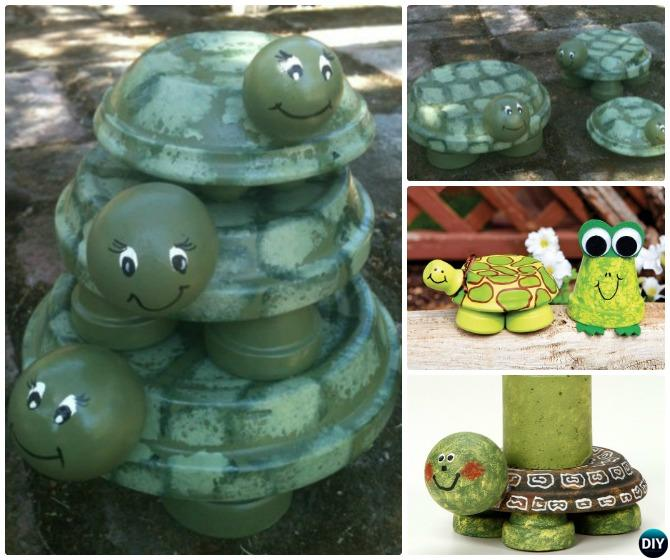 DIY Clay Pot Turtle Instruction - Terracotta Clay Pot Frog DIY Clay Pot Garden Craft Projects