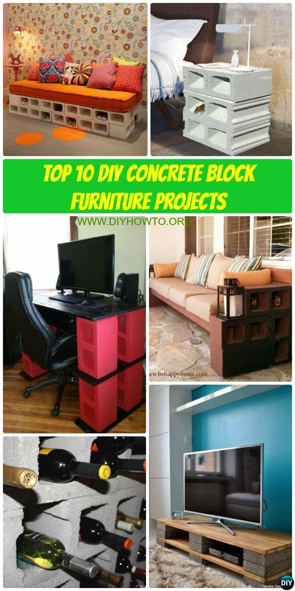 Top 10 Unexpected DIY Concrete Block Furniture Projects with Picture Instructions for Unique Budget Home Decorating and Improvement.