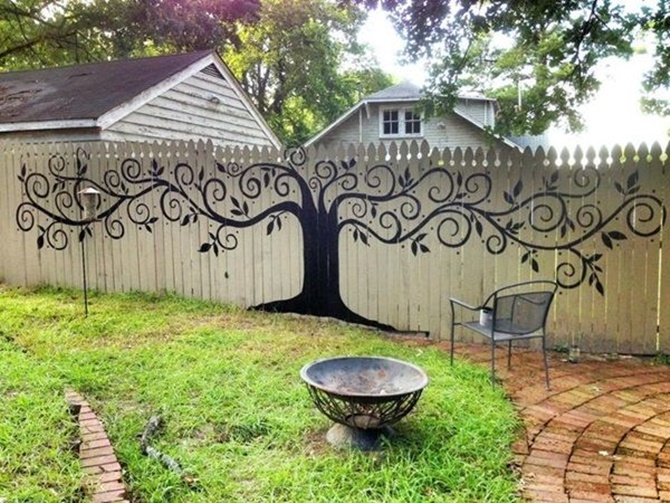 Tree Drawing Art Garden Fence Decor 20 Backyard Fence Decoration Makeover DIY  Ideas