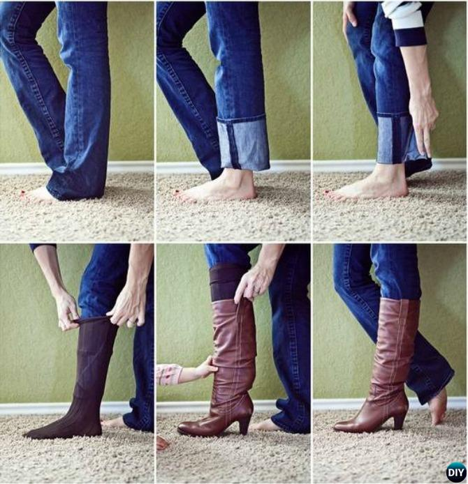 Trick to Tuck Non-skinny Jeans into Boots-20 Lady Girl Fashion Hacks