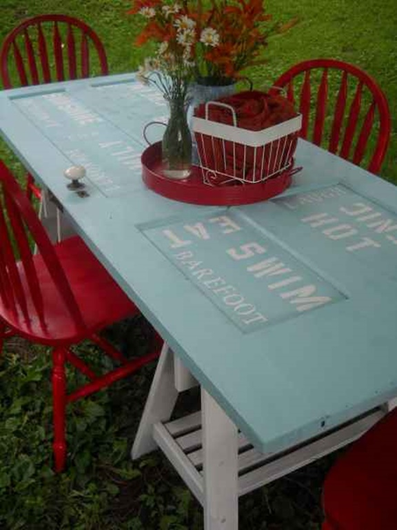Turn old door into picnic table diyhowto diy how to for How to turn an old door into a table