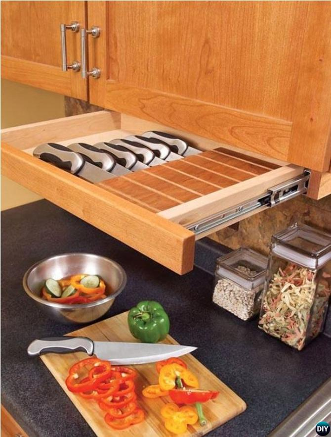 DIY Under Cabinet Slide Out Knife Drawer-16 Brilliant Kitchen Storage Solutions You Can Make Yourself