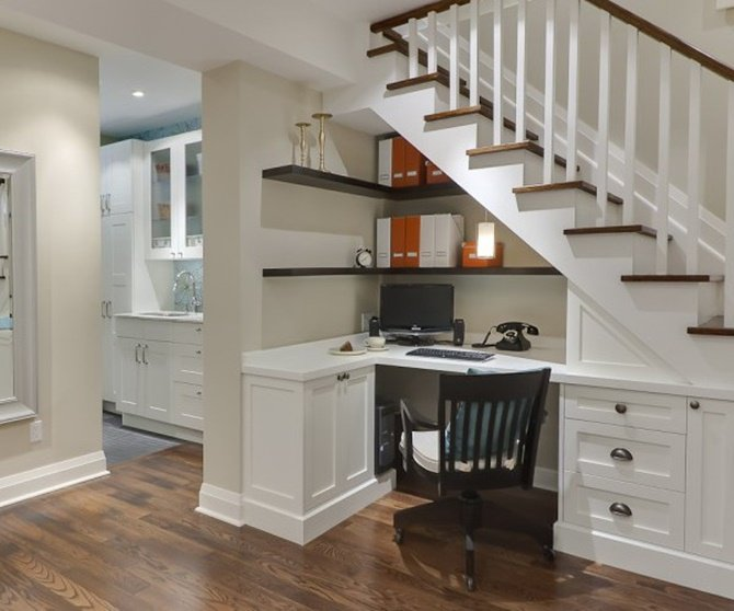 Under the Stairs Home Office -20 Build-In Ideas to Use Space Under Stairs