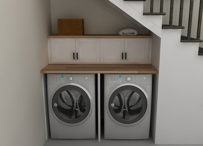 Under the Stairs Laundry-20 Build-In Ideas to Use Space Under Stairs