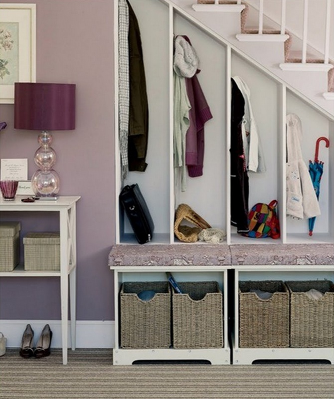 Under the Stairs Mud Room-20 Build-In Ideas to Use Space Under Stairs