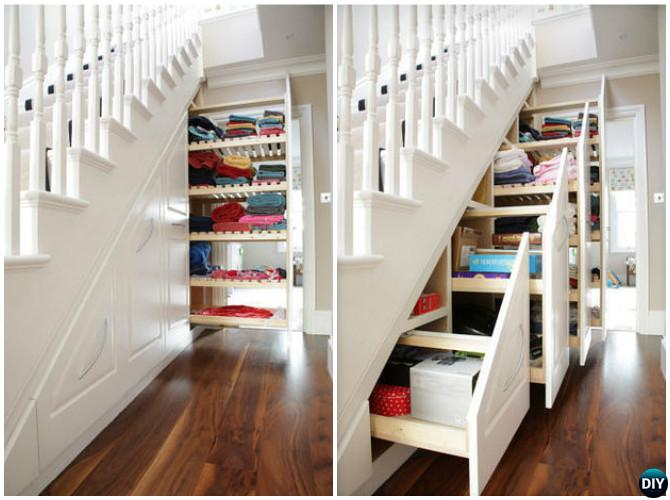 Build in ideas to use space under stairs for Under stairs drawers plans