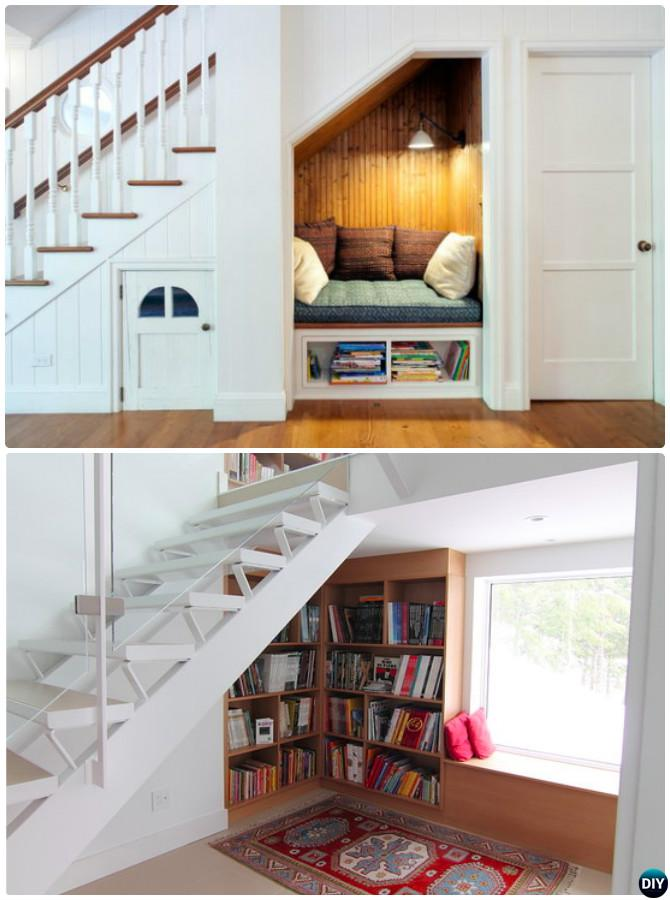 Understair Reading Nook-20 Build-In Ideas to Use Space Under Stairs