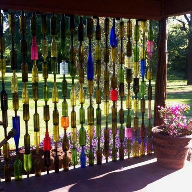 Backyard Fence Decorating Ideas spring fence decorating ideas Vertical Glass Bottle Wall Garden Decor 20 Fence Decoration Makeover Diy Ideas