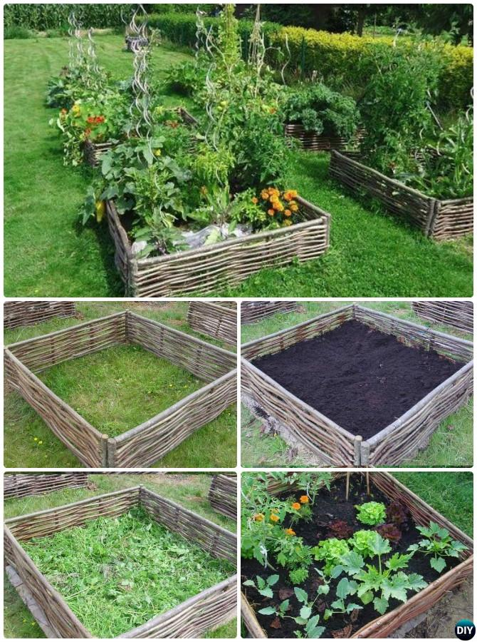 Creative Garden Edging Ideas garden edging design ideas get inspired by photos of garden Weave Branches Nestling Lasagna Raised Garden Bed Edging 20 Creative Garden Bed Edging Ideas Projects