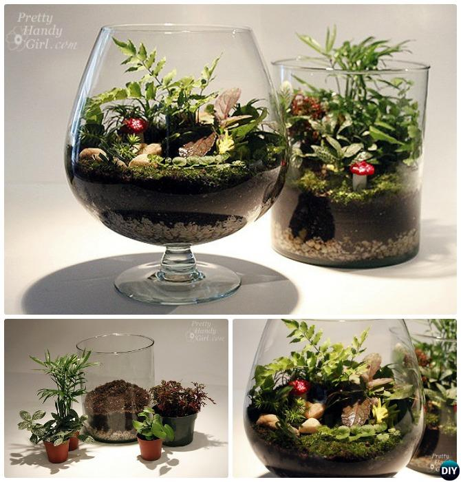 Wine Glass Terrarium-DIY Mini Fairy Terrarium Garden Ideas