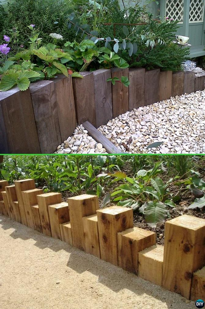 Creative Garden Edging Ideas lawn edging ideas 9 Wood Block Garden Edging 20 Creative Garden Bed Edging Ideas Projects Instructions