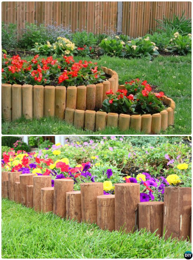 Creative Garden Edging Ideas bottle edging Wood Log Garden Edging 20 Creative Garden Bed Edging Ideas Projects Instructions