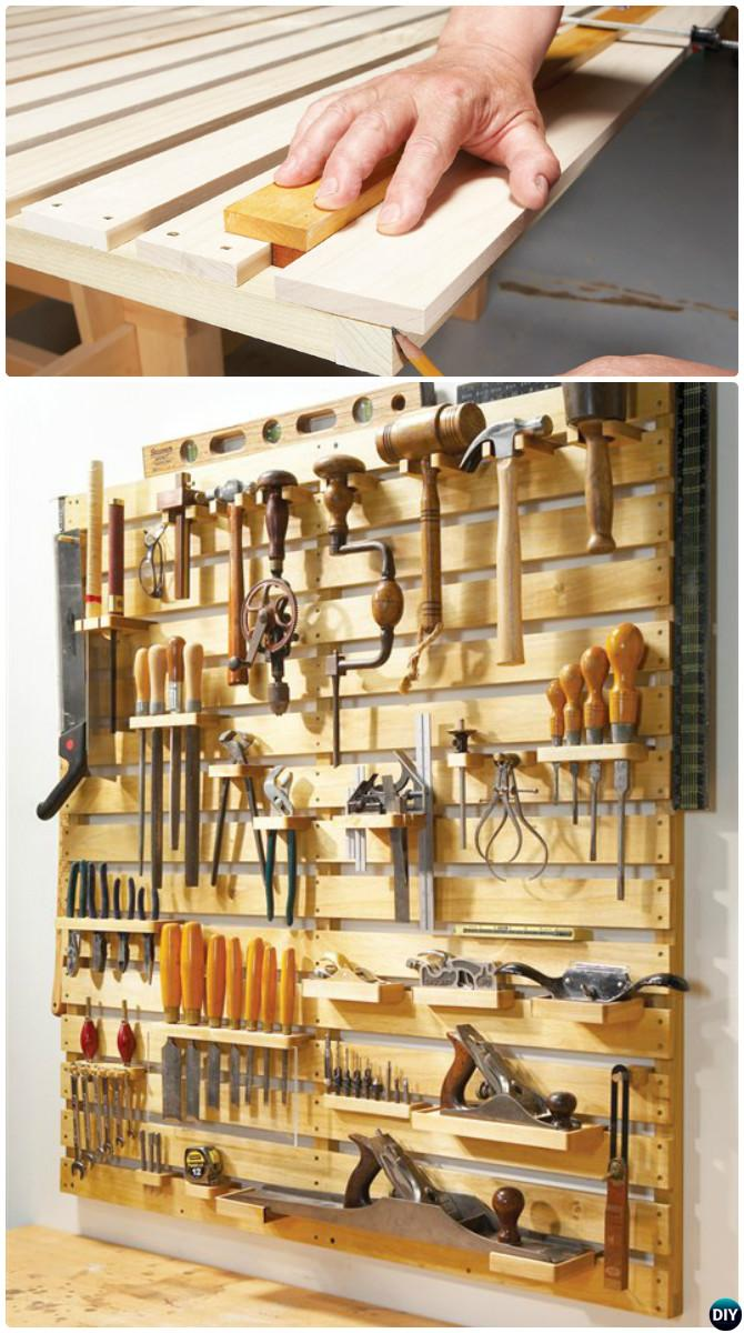 Wood Tool Track-Garage Organization and Storage DIY Ideas Projects