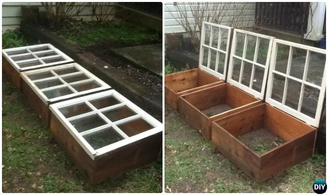 DIY Portable Window Cold Frame Greenhouse-18 DIY Green House Projects Instructions