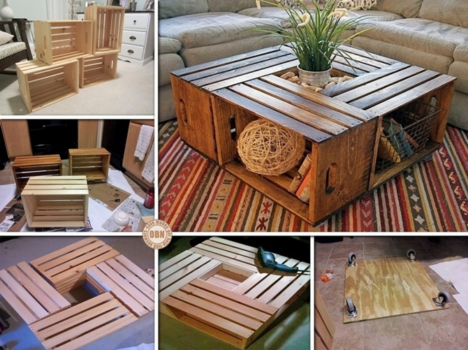 DIYHowto 15 DIY Coffee Table Ideas And Free Plans With Instructions-Wine Crate Coffee Table