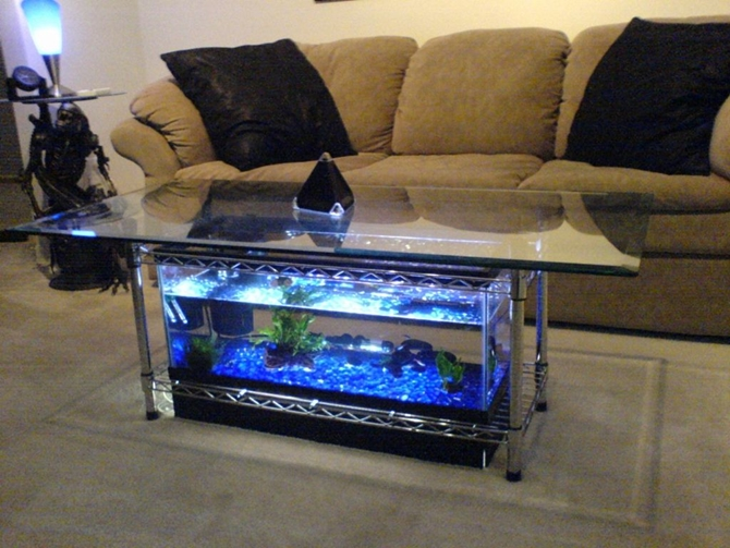 DIYHowto 15 DIY Coffee Table Ideas And Free Plans With Instructions-DIY Aquarium Coffee Table