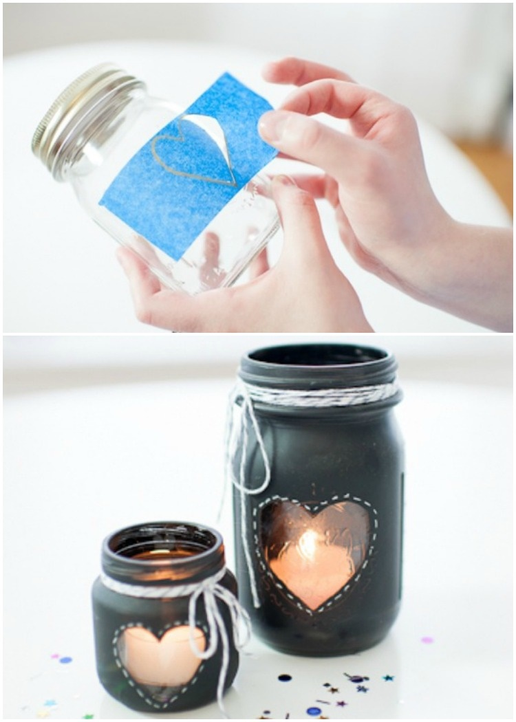 20 Unique Mason Jar DIY Crafts and Projects You'll Love to Try-Chalkboard Mason Jar Centerpiece