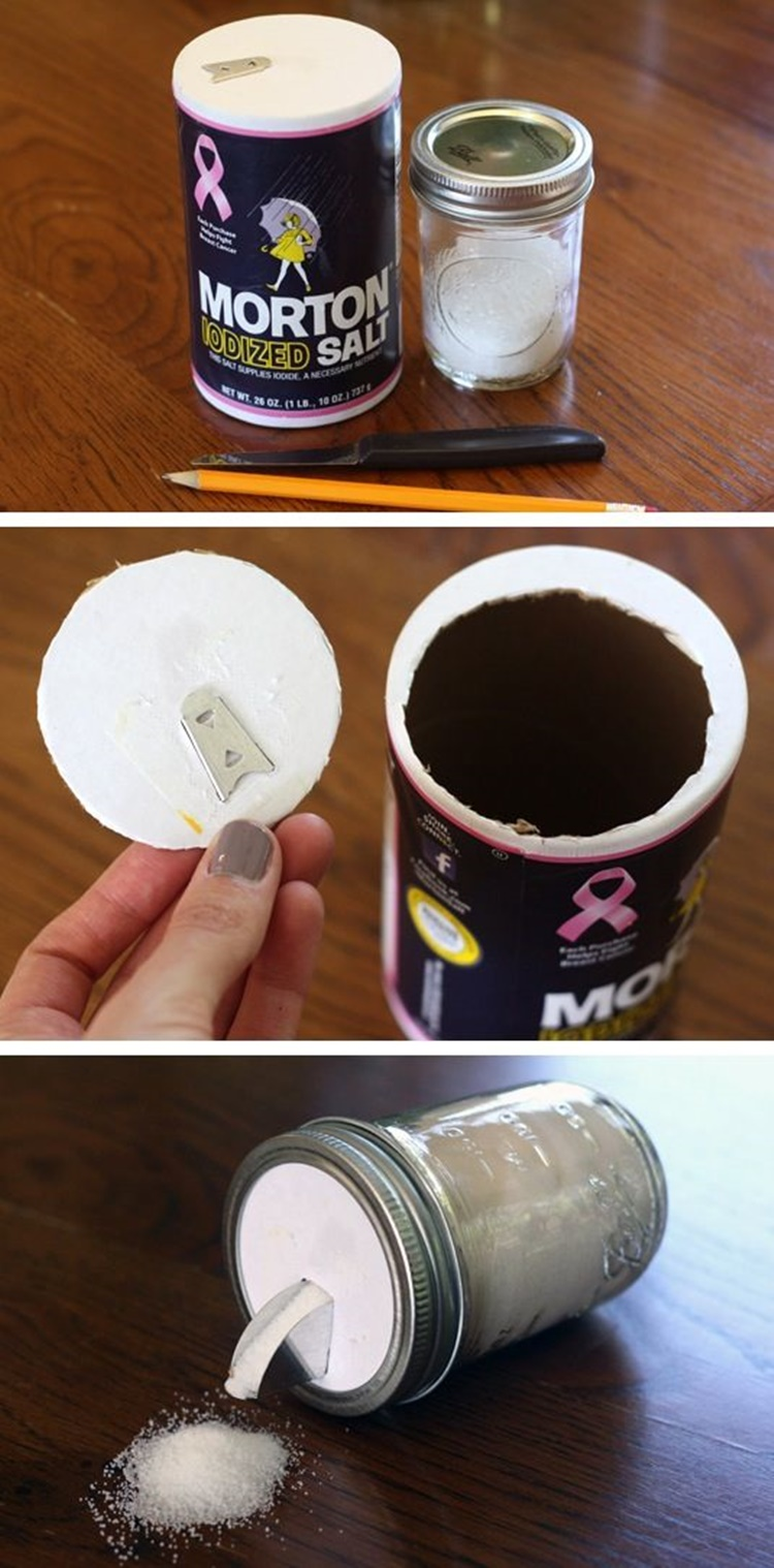 20 Unique Mason Jar DIY Crafts and Projects You'll Love to Try-Mason Jar Salt Dispenser