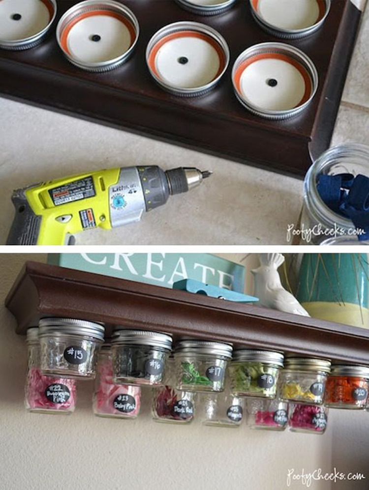 20 Unique Mason Jar DIY Crafts and Projects You'll Love to Try-Mason Jar Under-Shelf Storage