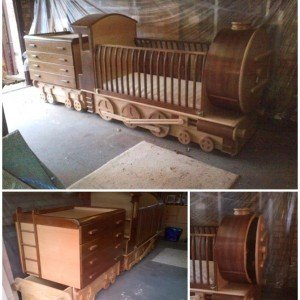 DIY Train Crib Bed Cot with Dresser - DIY Train Bed Projects