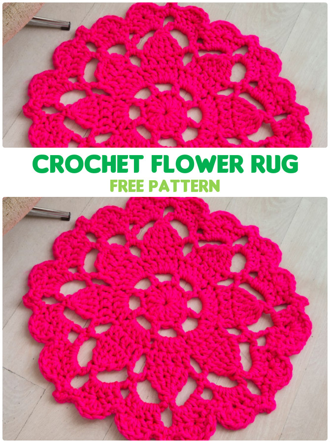 Flower Rug Crochet Free Pattern - #Crochet Area #Rug Ideas Free Patterns