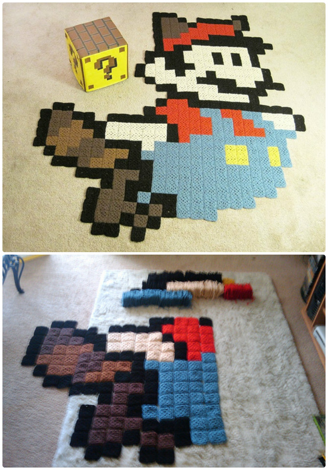 Granny Square Raccoon Mario Rug Crochet Free Pattern - #Crochet Area #Rug Ideas Free Patterns