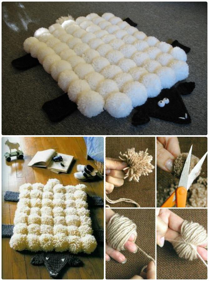 Pom Pom Sheep Rug Crochet Free Pattern - #Crochet Area #Rug Ideas Free Patterns