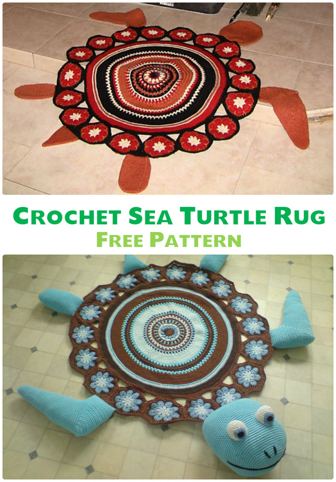 Sea Turtle Rug Crochet Free Pattern - #Crochet Area #Rug Ideas Free Patterns