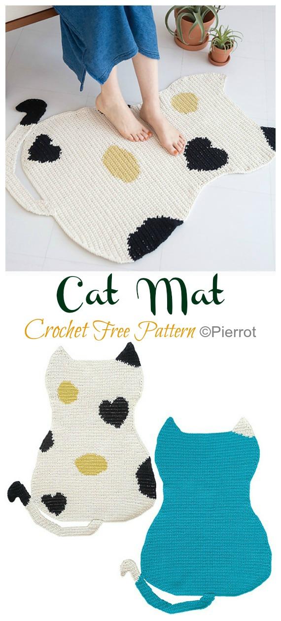 Cat Mat Crochet Free Pattern - #Crochet Area #Rug Ideas Free Patterns