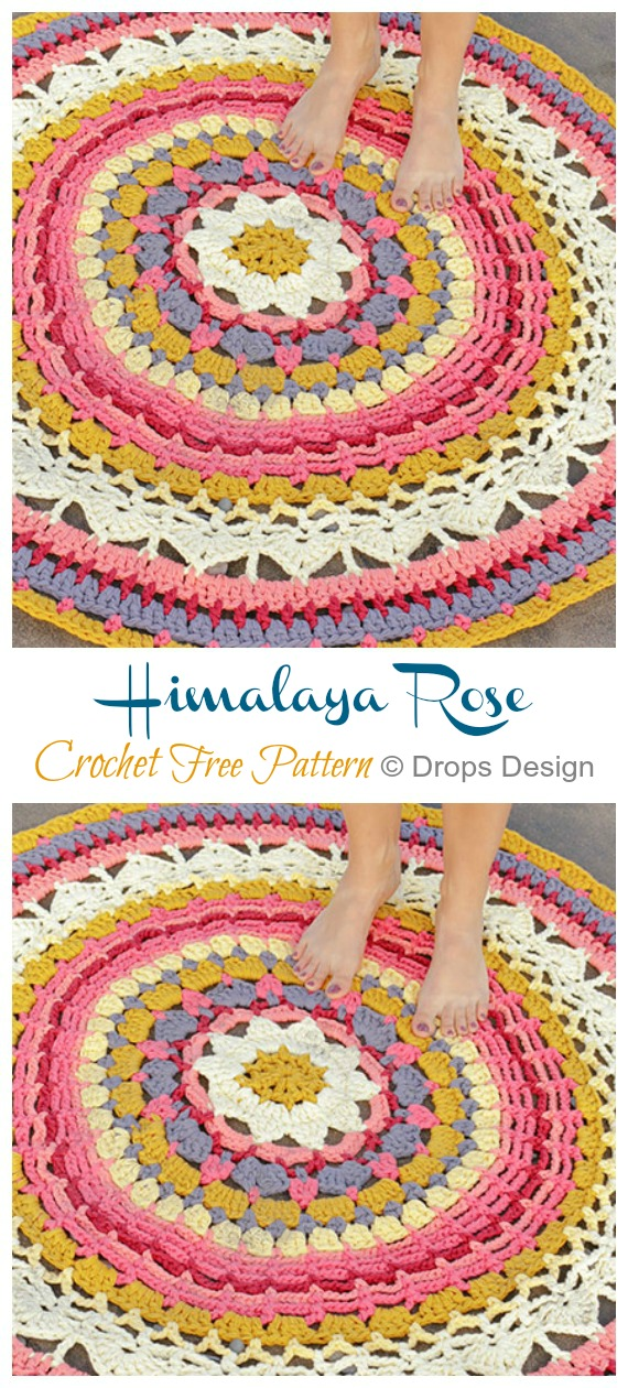 Himalaya Rose Crochet Free Pattern - #Crochet Area #Rug Ideas Free Patterns