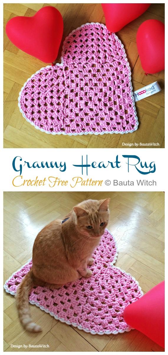 Granny Heart Rug Crochet Free Pattern - #Crochet Area #Rug Ideas Free Patterns