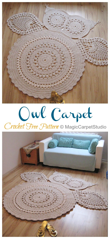 Crochet Owl Carpet Rug Free Pattern -Crochet Area Rug Ideas Free Patterns