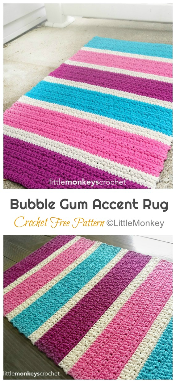 Bubble Gum Accent Rug Crochet Free Pattern - #Crochet Area #Rug Ideas Free Patterns