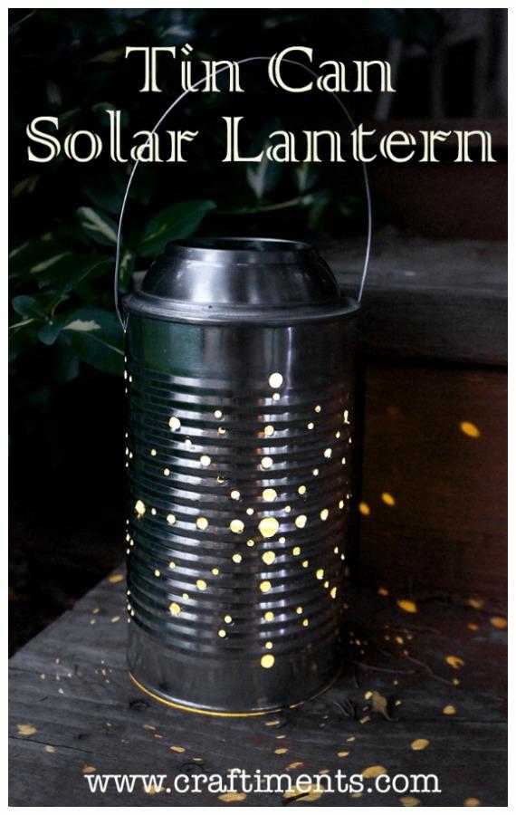 DIY Solar Inspired Solar Light Lighting Ideas- DIY Recycled Tin Can Solar Light Lantern Tutorial