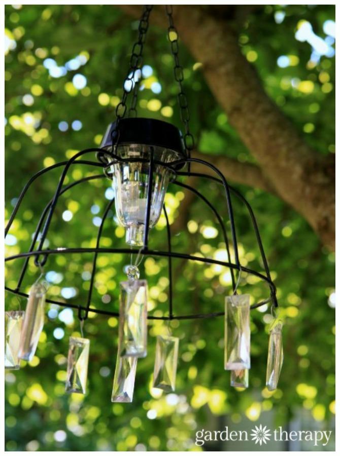 DIY Fairy Solar Light Chandelier Tutorial- DIY Solar Inspired Solar Light Lighting Ideas