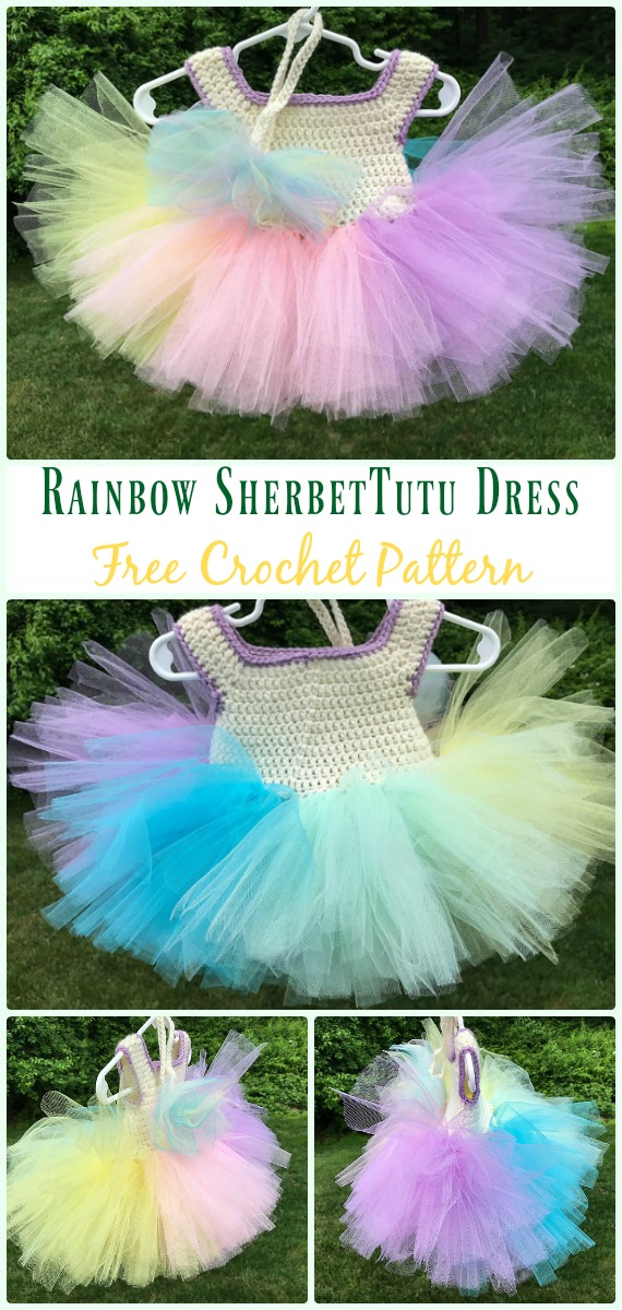 Rainbow Sherbet Tutu Dress Crochet Free Pattern- #Crochet; #TutuDress; Free Patterns