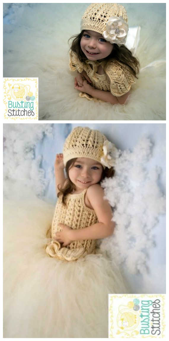 Winter Princess Dress and Hat All Sizes Crochet Free Pattern- #Crochet; #TutuDress; Free Patterns