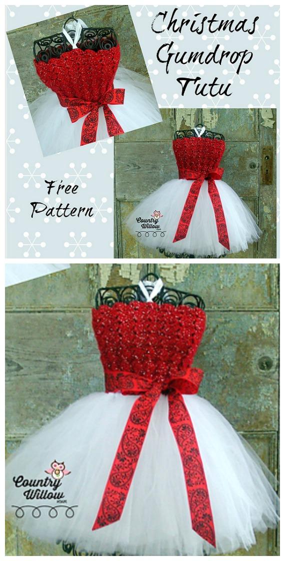 Christmas Gumdrop Tutu Dress Crochet Free Pattern- #Crochet; #TutuDress; Free Patterns