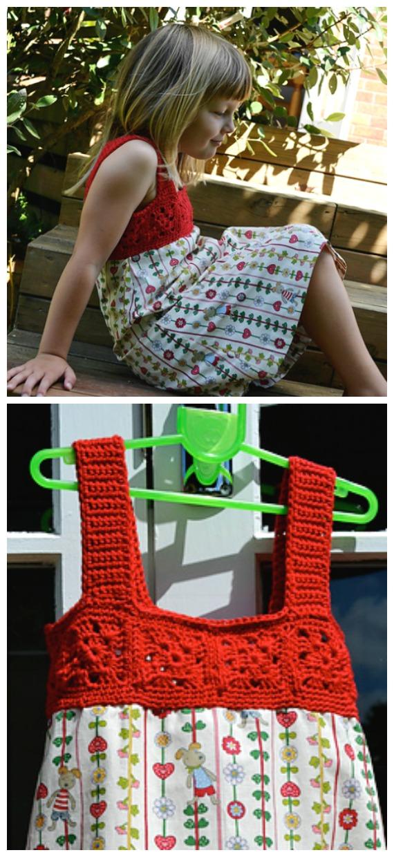 Granny Square Yoke Dress Crochet Free Pattern- #Crochet; #TutuDress; Free Patterns