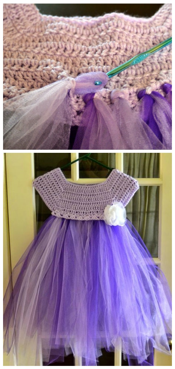 Kassia Empire Waist Crochet Tutu Tulle Dress - Tutu #Dress Yoke Free #Crochet; Pattern