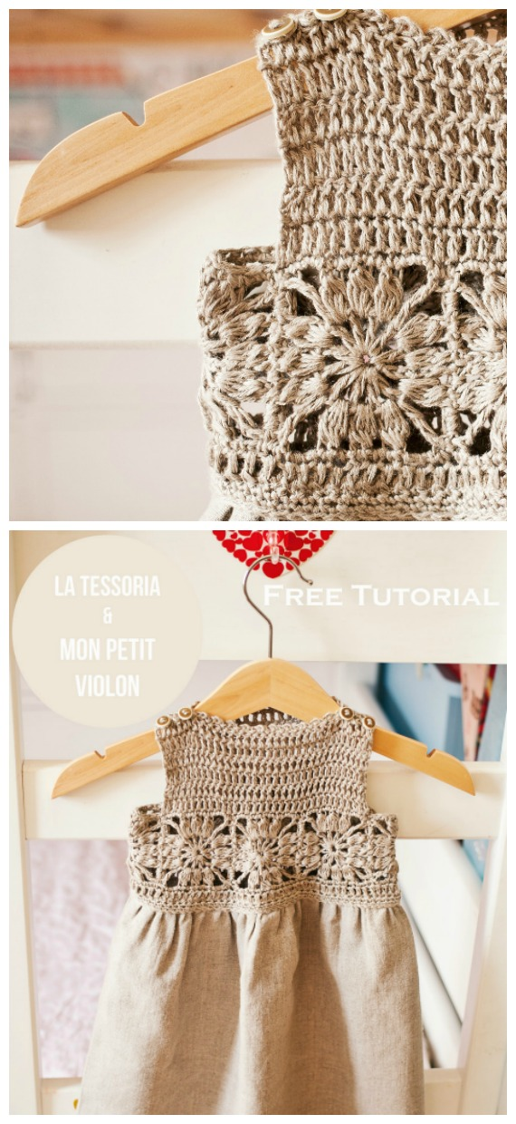Granny Square Fabric Dress Crochet Free Pattern- #Crochet; #TutuDress; Free Patterns