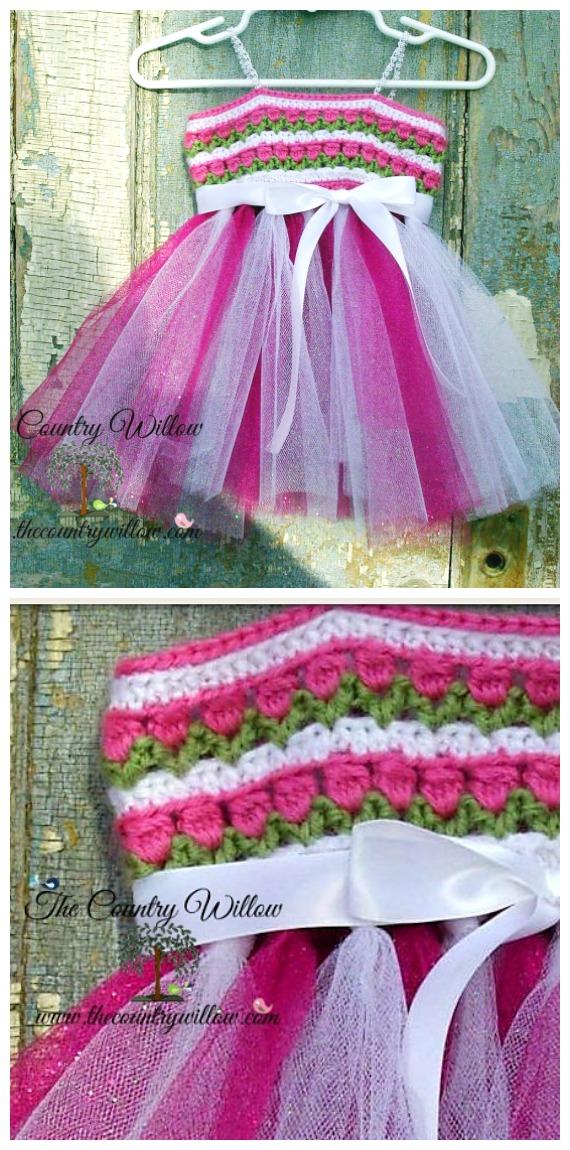 TulipsTulle Dress Crochet Free Pattern- #Crochet; #TutuDress; Free Patterns