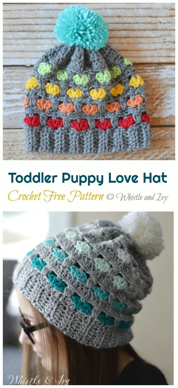 Crochet Toddler Puppy Love Hat Free Pattern - Crochet #Valentine; Heart #Gift; Ideas Free Patterns