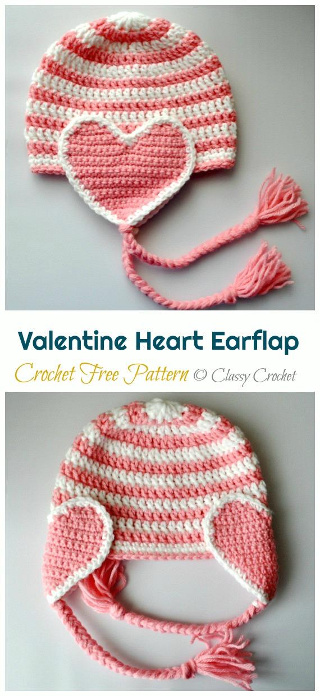 Valentine Heart Earflap Hat Crochet Free Pattern - Crochet #Valentine; Heart #Gift; Ideas Free Patterns