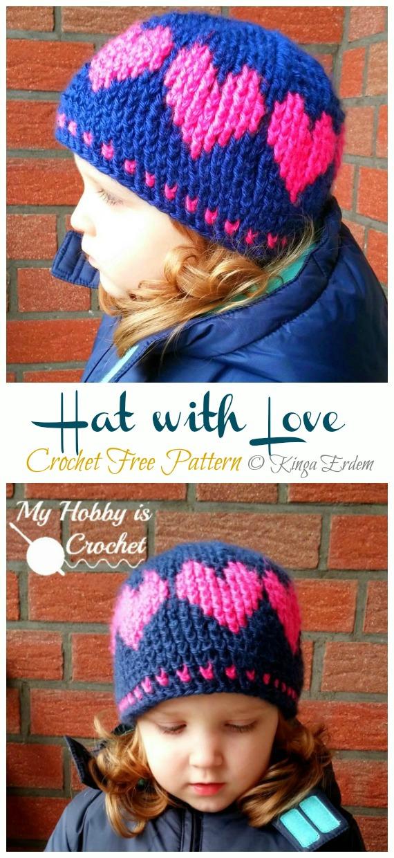 Valentine Hat with Love Crochet Free Pattern - Crochet #Valentine; Heart #Gift; Ideas Free Patterns